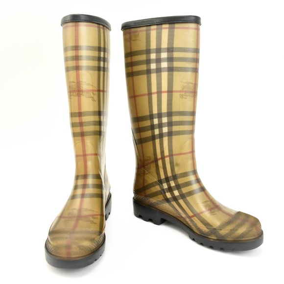 Burberry Shoes - BURBERRY Beige Nova Check Rain Boots
